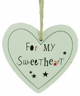 HEART SHAPED 'FOR MY SWEETHEART' CHUNKY WOODEN SHABBY CHIC PLAQUE SIGN GIFT..